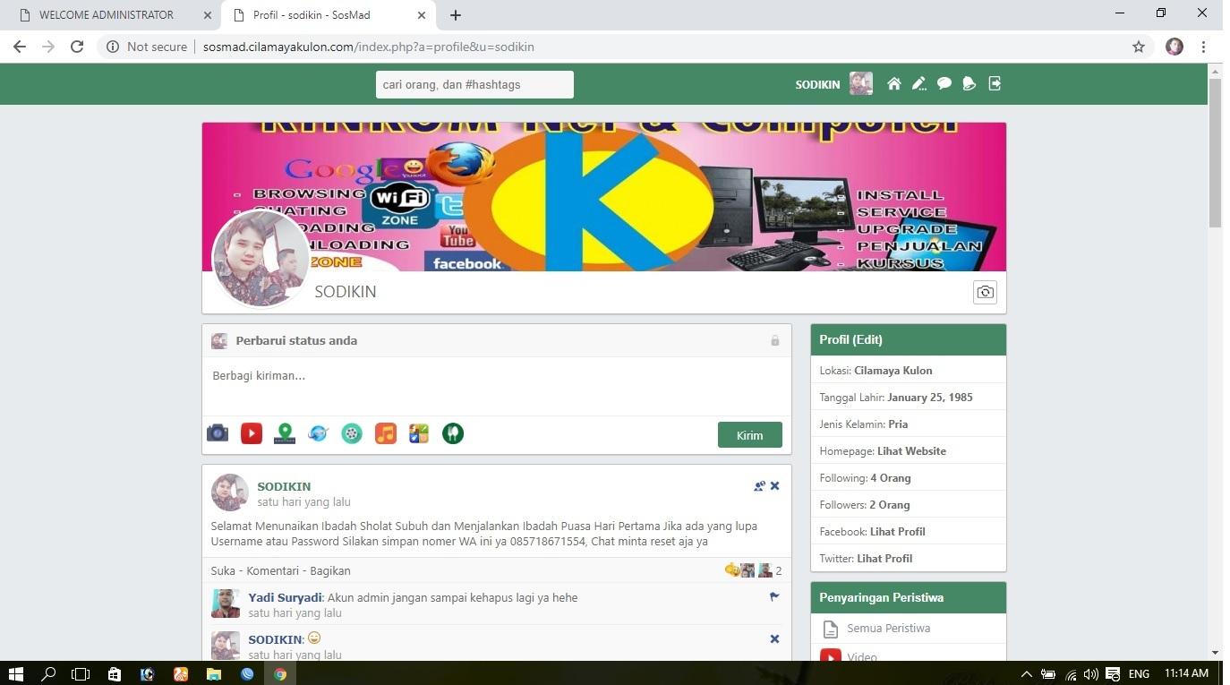 Situs SOSMAD Cilamaya Kulon Dirilis Awal Ramadhan 2019